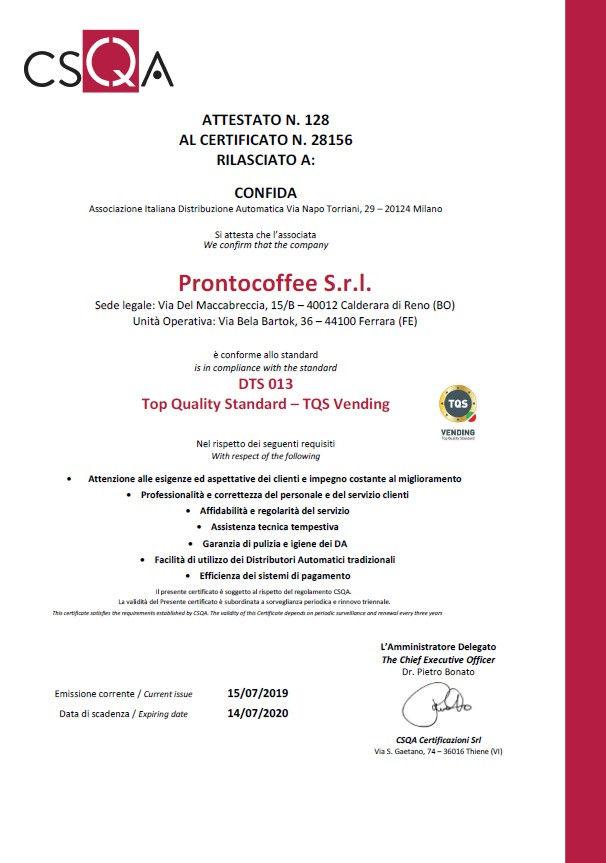Certificato TQS Vending 2019